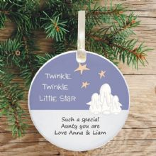 Ceramic Uncle/Auntie Keepsake Christmas Decoration - Twinkle Star Design